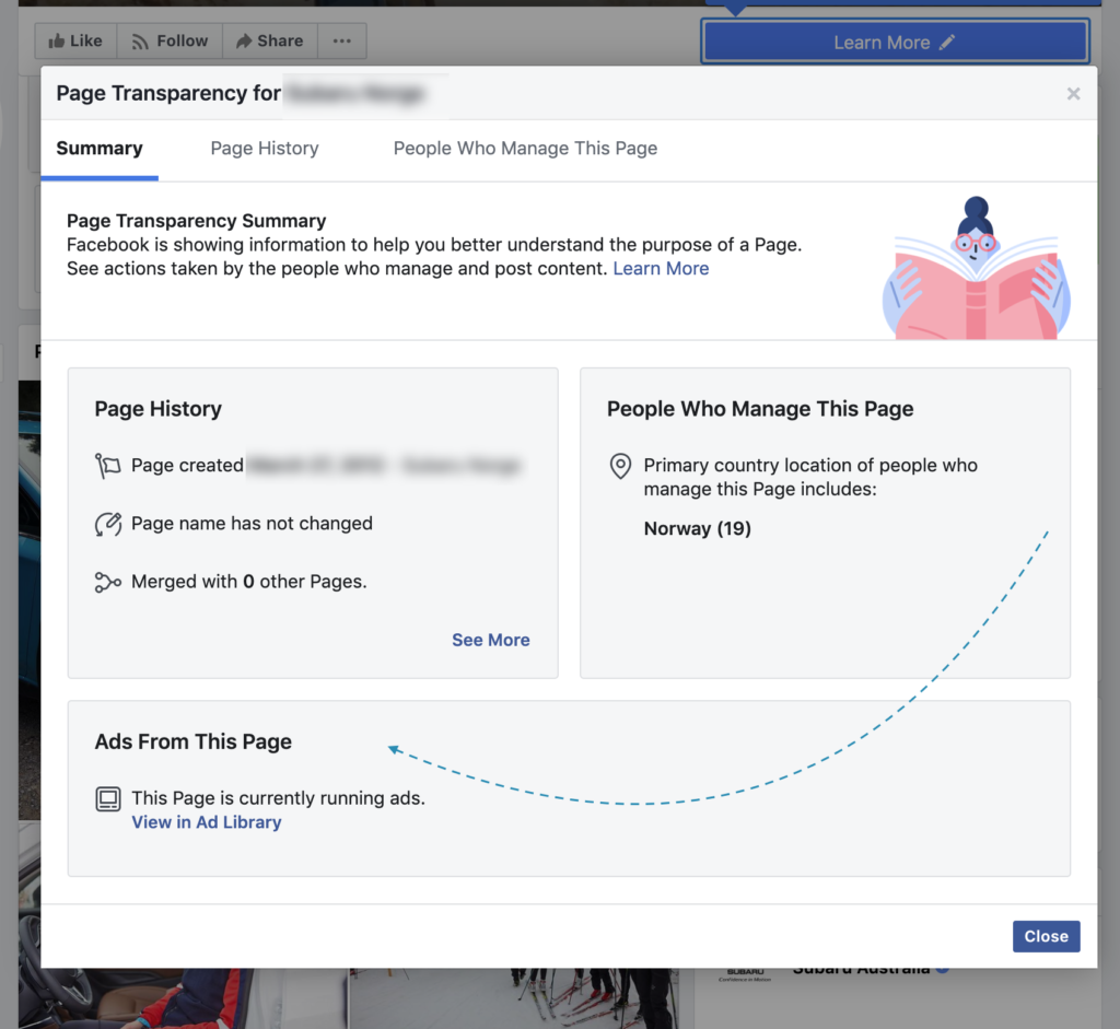 Facebook info and ads har flyttet til Page transparency