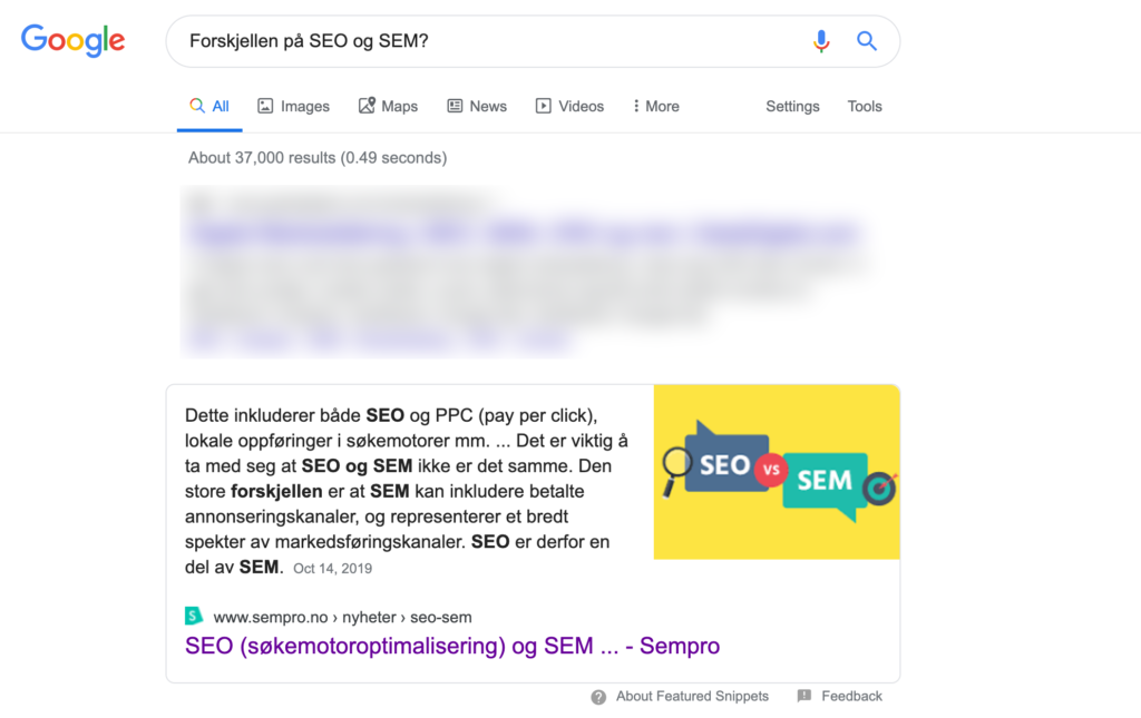 SEO i 2020 featured snippet